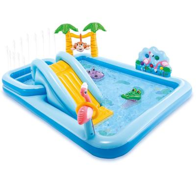85 in. x 74 in. x 49 in. Rectangular 8 in. D Jungle Adventure Play Center Kiddie Pool