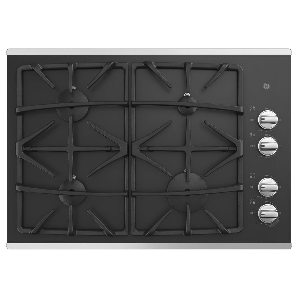 30 in. Gas Cooktop in Stainless Steel with 4-Burners including Power