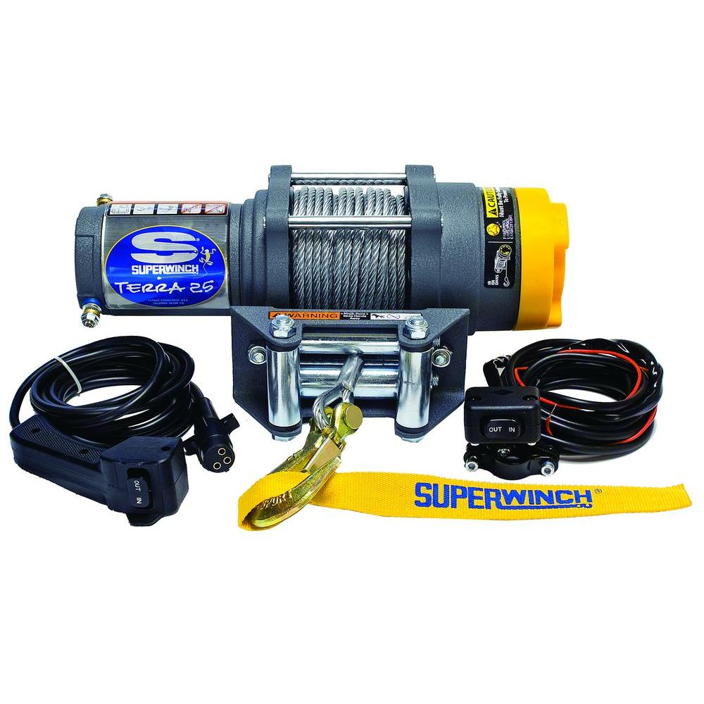 Superwinch Terra Series 25 12 Volt Atv Winch With 4 Way Roller 48 Ll Engine Wiring Fairlead And
