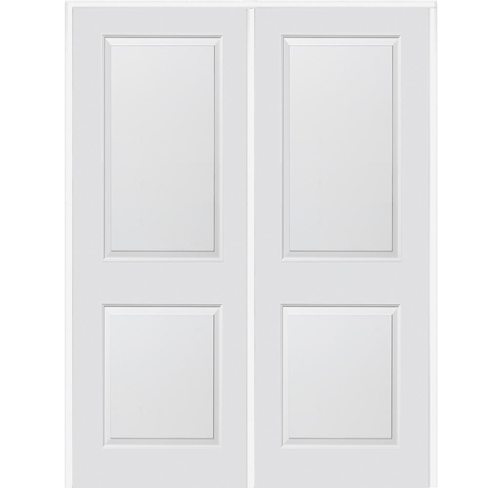 72 in. x 84 in. Smooth Carrara Left-Hand Active Solid Core Primed Molded MDF Double Prehung Interior Door