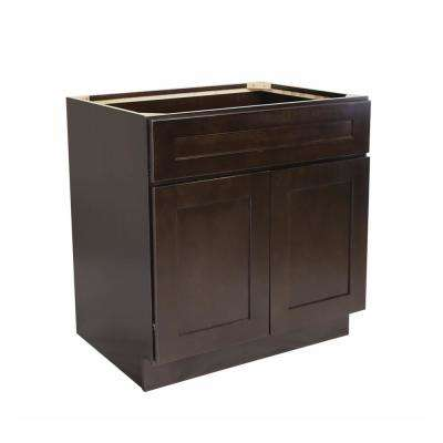 Brookings Fully Assembled 48x34.5x24 in. Shaker Style Kitchen Sink Base Cabinet in Espresso