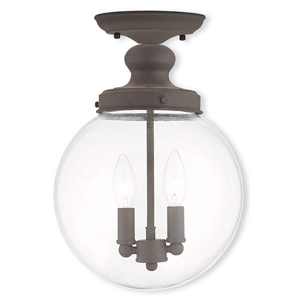 Livex Lighting Sheffield 2 Light Bronze Flushmount