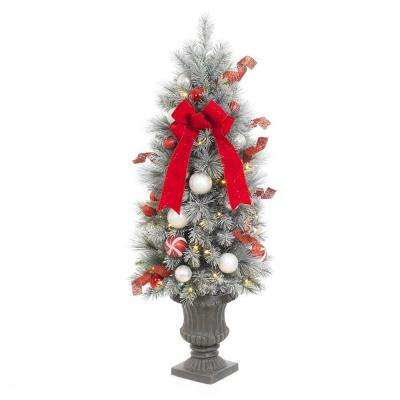 4 ft. Pre-Lit Flocked Porch Artificial Christmas Tree with 50 Clear Battery Operated LED Lights and Timer Function