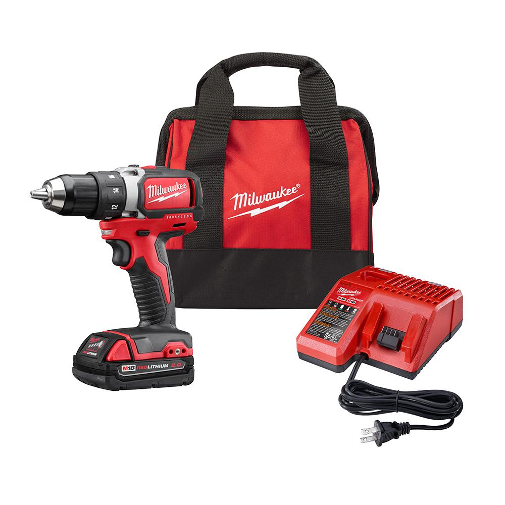 Milwaukee M18 18-Volt Lithium-Ion Brushless Cordless 1/2 in. Compact Drill/Driver Kit with (1) 2.0Ah Battery, Charger and Tool Bag
