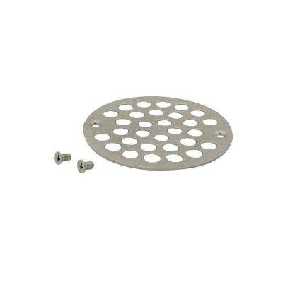 4 in. O.D. Shower Strainer Cover Plastic-Oddities Style in Satin Nickel