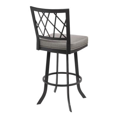 Giselle Contemporary 30 in. Bar Height Bar Stool in Matte Black and Vintage Grey Faux Leather