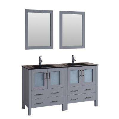 60 in. W Double Bath Vanity with Tempered Glass Vanity Top in Black with Black Basin and Mirror