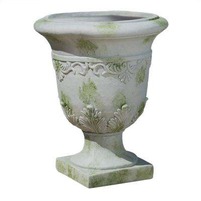 Moroccan 20 in. Grey with Green Moss Urn Planter
