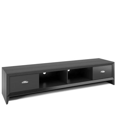 Lakewood 71 in. Black Wood Grain TV Stand with 2 Drawer Fits TVs Up to 80 in. with Cable Management