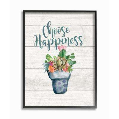 """11 in. x 14 in. """"Choose Happiness Cactus Succulents Watercolor"""" by Jo Moulton Framed Wall Art"""
