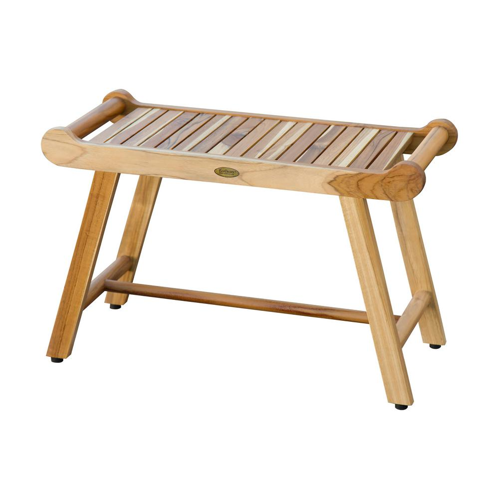 W Teak Shower Stool Bench with LiftAide Arms in Natural Teak