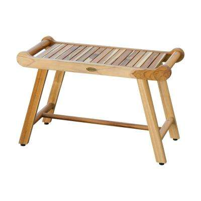 SensiHarmony 30 in. W Teak Shower Stool Bench with LiftAide Arms in Natural Teak