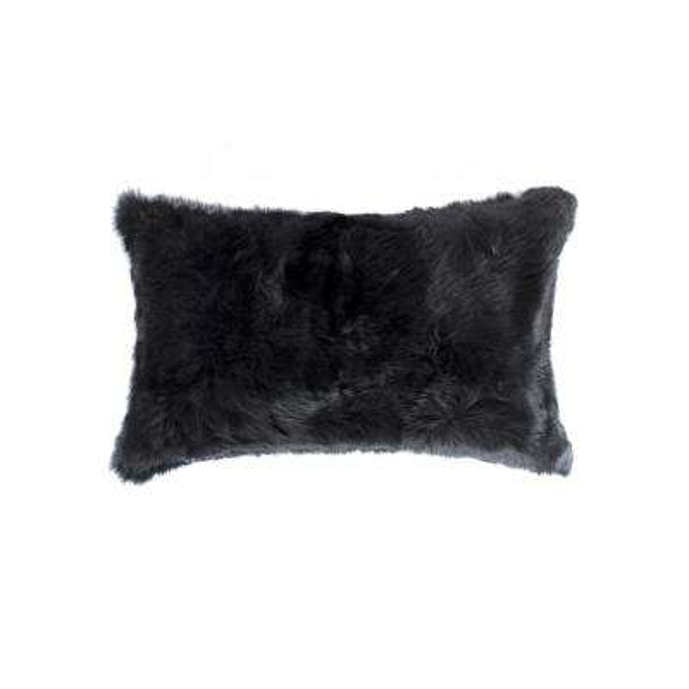 Rabbit Fur 12 in. x 20 in. Black Pillow