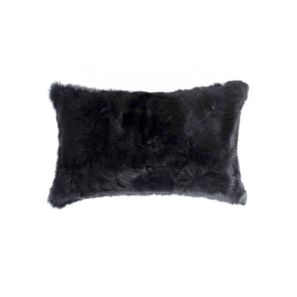 Rabbit Fur Black Solid 12 in. x 20 in. Throw Pillow