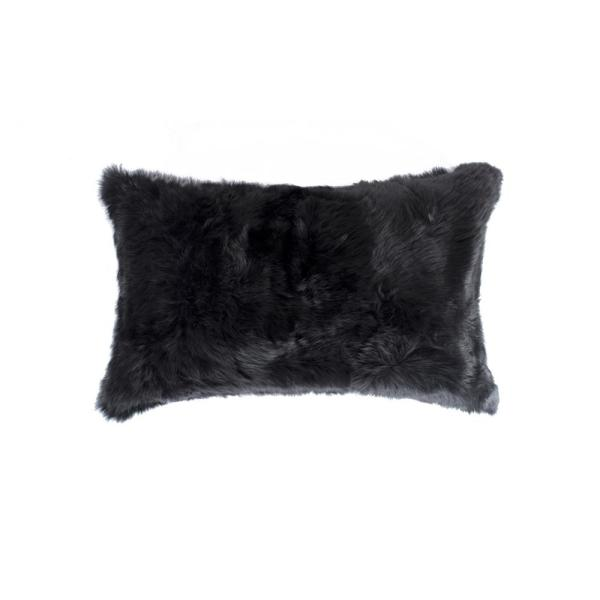 natural Rabbit Fur 12 in. x 20 in. Black Pillow 676685047090