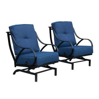 Rocking Metal Outdoor Lounge Chair with Blue Cushion (2-Pack)