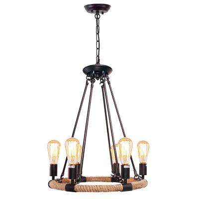 6-Light Black Rust Rope Chandelier