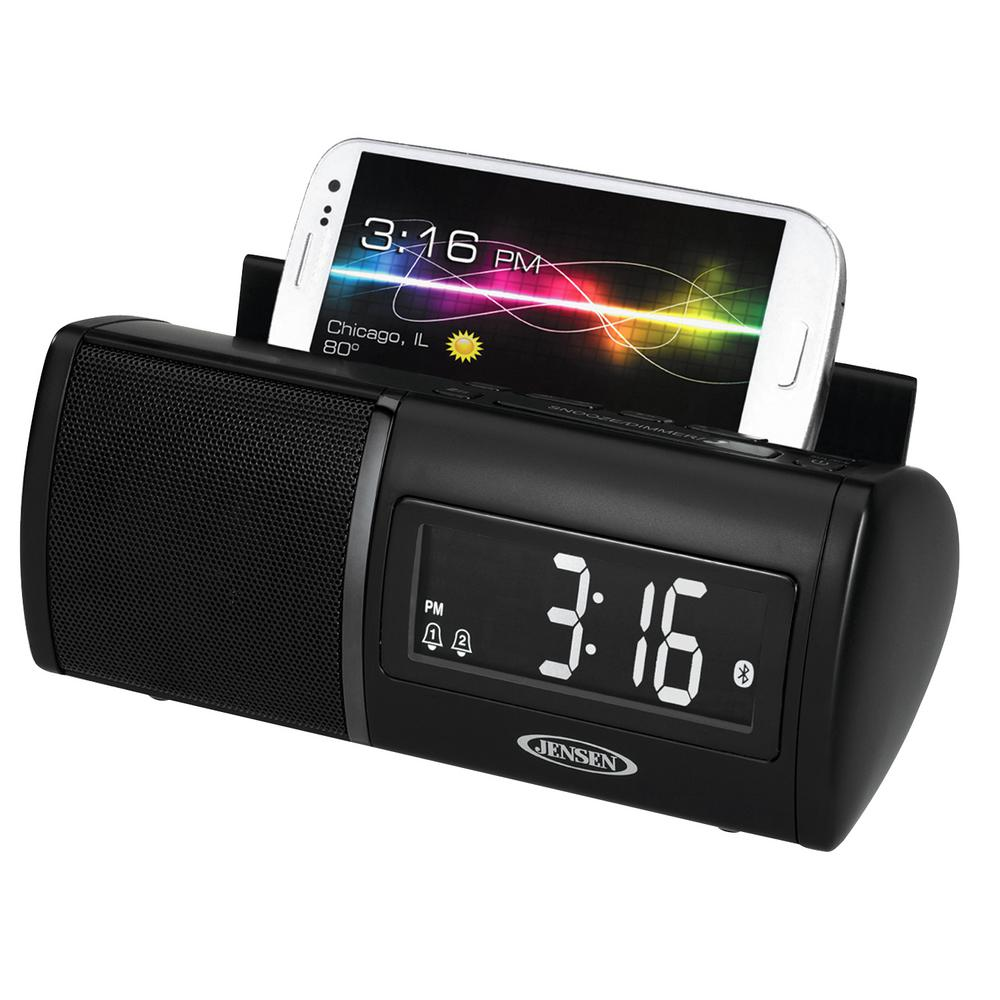 Jensen Bluetooth Clock Radio with 1 Amp Charging for Smar...