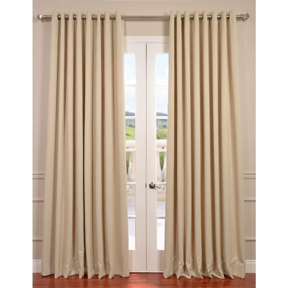 Exclusive Fabrics & Furnishings Semi-Opaque Eggnog Ivory Grommet Doublewide Blackout Curtain - 100 in. W x 120 in. L (1 Panel)