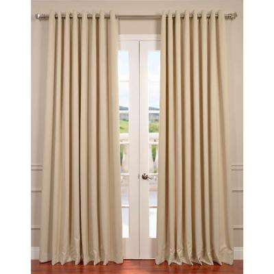 Semi-Opaque Eggnog Ivory Grommet Doublewide Blackout Curtain - 100 in. W x 120 in. L (1 Panel)