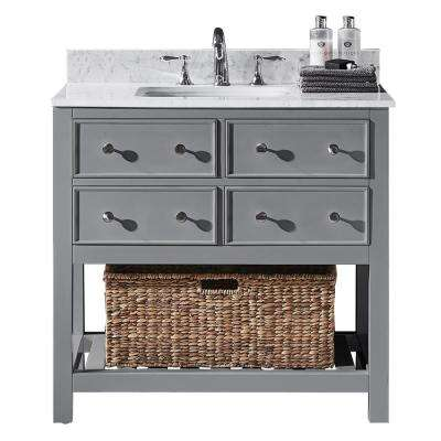 Elodie 36 in. W x 22 in. D x 34.21 in. H Bath Vanity in Taupe Grey with Marble Vanity Top in White with White Basin