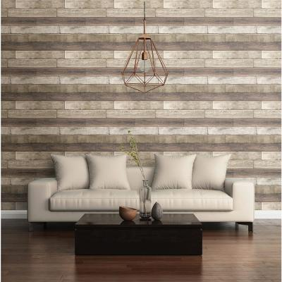 56.4  sq. ft. Porter Coffee Weathered Plank Wallpaper