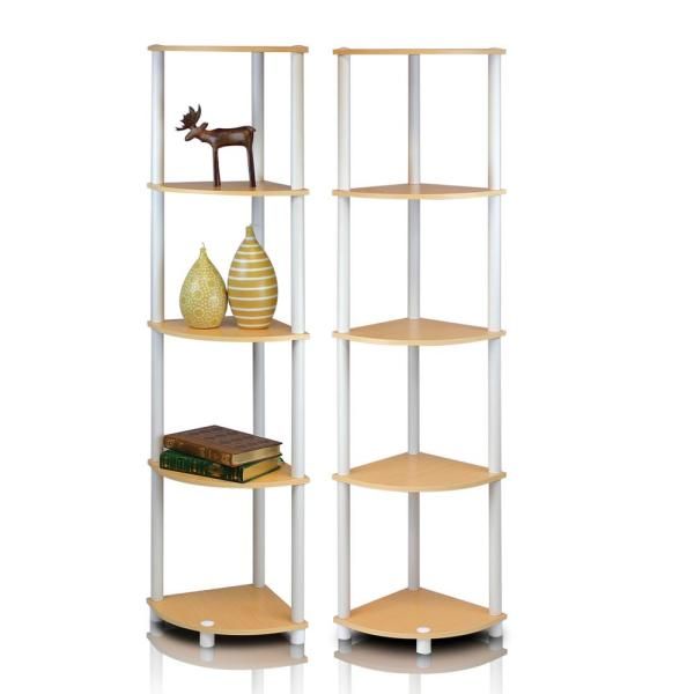 57.7 in. Beech/White Plastic 5-shelf Corner Bookcase with Open Storage