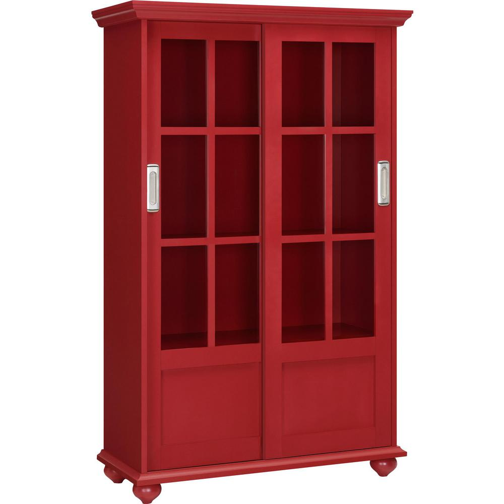 Ameriwood Home Abel Place Red Glass Door Bookcase-HD07372 ...