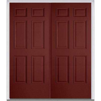60 in. x 80 in. Classic Right-Hand Inswing 6-Panel Painted Fiberglass Smooth Prehung Front Door with Brickmould