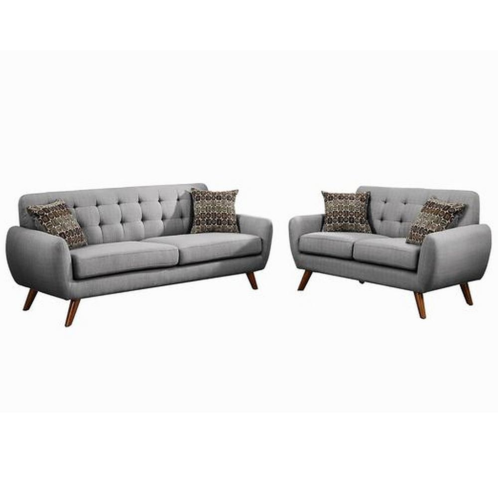 Bobkona Sonya Linen-Like Sofa and Loveseat 2-Piece Set in Grey