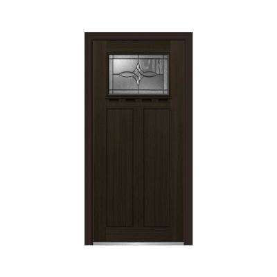 36 in. x 80 in. Lenora Right-Hand Inswing 1-Lite Decorative Craftsman Stained Fiberglass Fir Prehung Front Door w/ Shelf