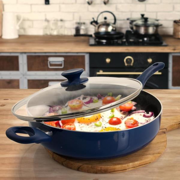 Gibson Home Charmont 5 Qt Nonstick Aluminum Saute Pan With Lid In Yale Blue 985114950m The Home Depot
