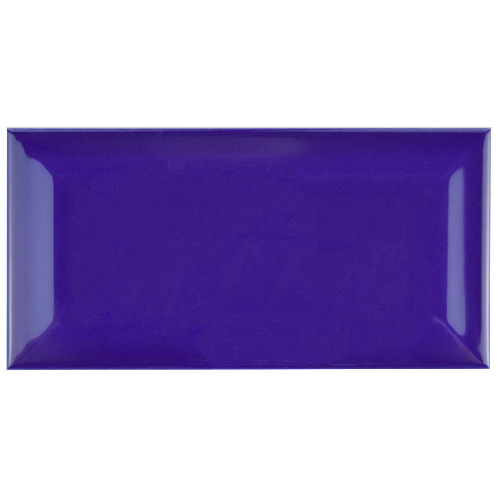 Merola Tile Park Slope Beveled Royal Blue 3 in. x 6 in. Ceramic Subway Wall Tile (19.18 sq. ft. / case)