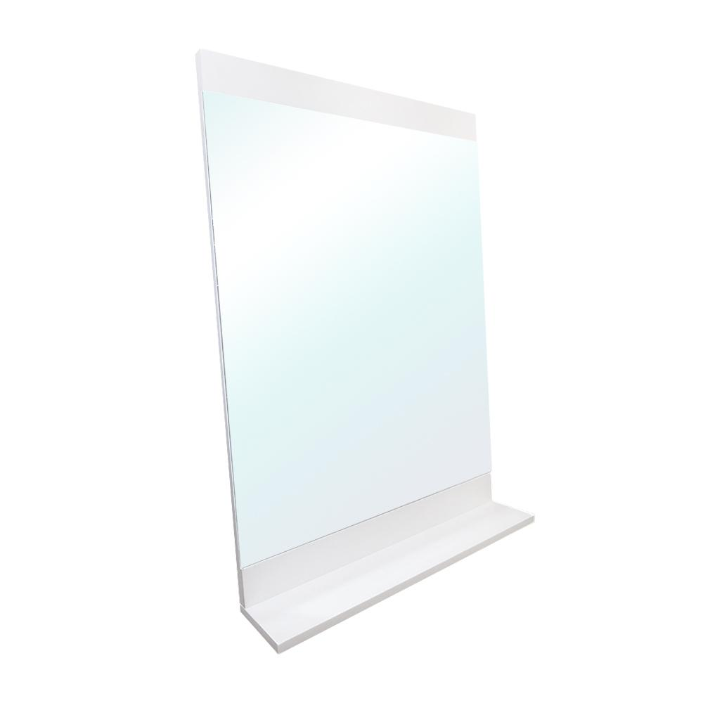 Bellaterra Home Acerra 22 in. x 32 in. with Attached Bottom Shelf Framed Wall Mirror in White