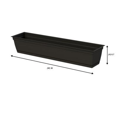 7.90 in. x 36.00 in. Black Plastic Window Box