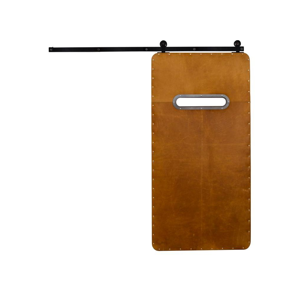 Rustica Hardware 42 in. x 84 in. Modern Range Light Brown Wood Barn Door with Top Mount Modern Sliding Door Hardware Kit