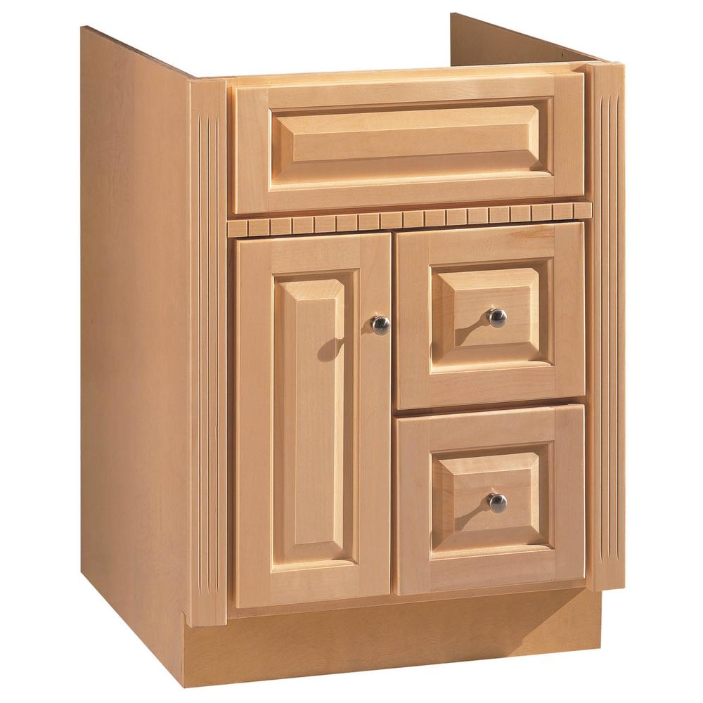 Hardware house 24 in w bath vanity cabinet only in maplewood 16600355 the home depot for Home hardware bathroom vanities