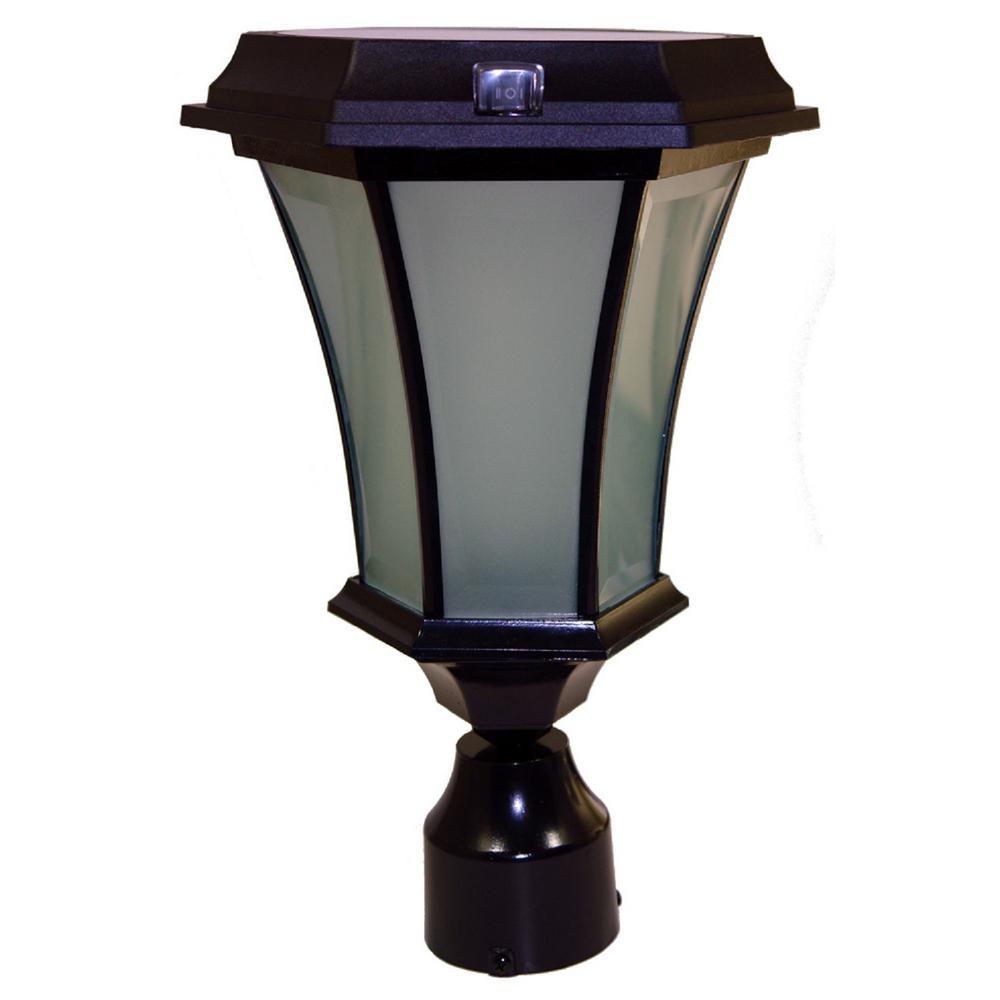 Black LED Outdoor Post Flicker Flame Coach Lantern