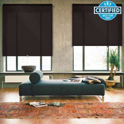 Cut-to-Width Brown Cordless Light Filtering Acrylic Coated Polyester Fabric Roller Shade - 34 in. W x 73 in. L
