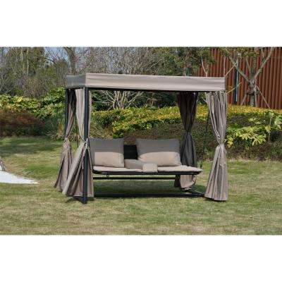 Barcelona Double Wicker Outdoor Patio Chaise Lounge Swing Bed Sunbed with Canopy and Taupe Cushions