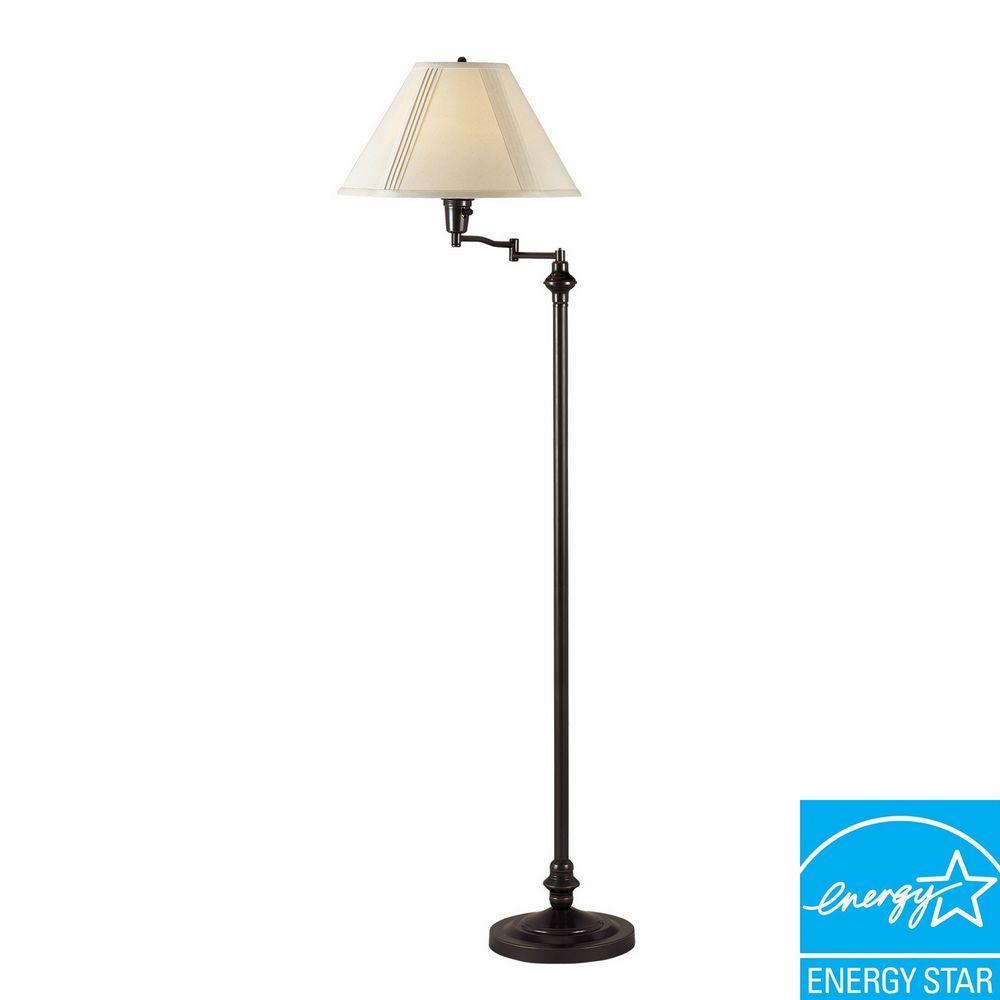 59 in. Dark Bronze Swing Arm Metal Floor Lamp