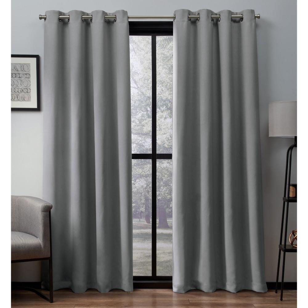 Heath 52 in. W x 96 in. L Woven Blackout Grommet Top Curtain Panel in Dove Grey (2 Panels)