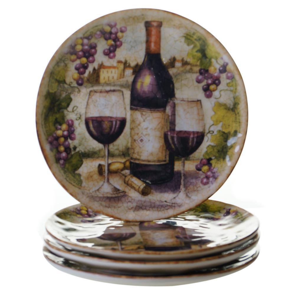 Certified International Sanctuary Wine Salad and Dessert Plate (Set of 4)