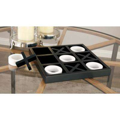 14 in. x 2 in. Black and White Wooden Tic-Tac-Toe Game