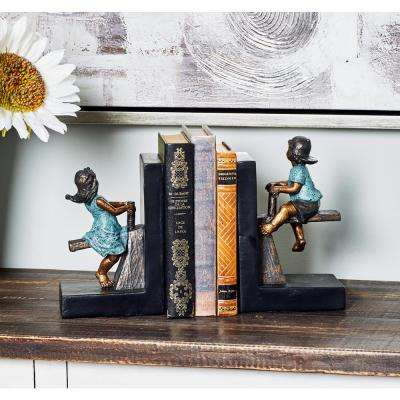 Distressed Brown Polystone Bookends (Set of 2)