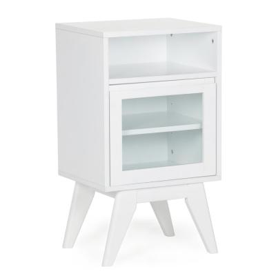 Baxter 17 in. x 30 in. x 14 in. Ready to Assemble Space Saver Mid Century Floor Storage Cabinet in Pure White