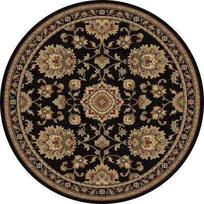Sensation Black 7 ft. 10 in. x 7 ft. 10 in. Round Traditional Area Rug