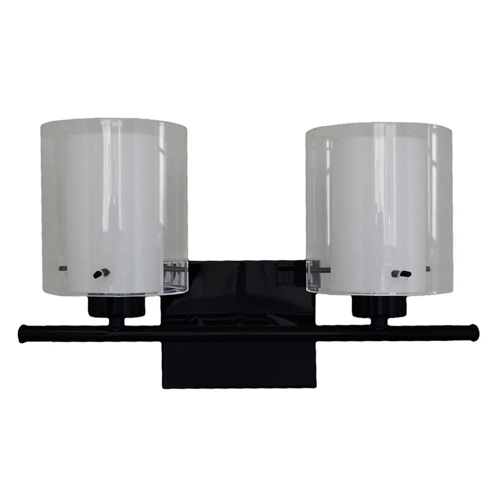 Filament Design 2 Light Black Bath Light Vl28055 2bk The Home Depot