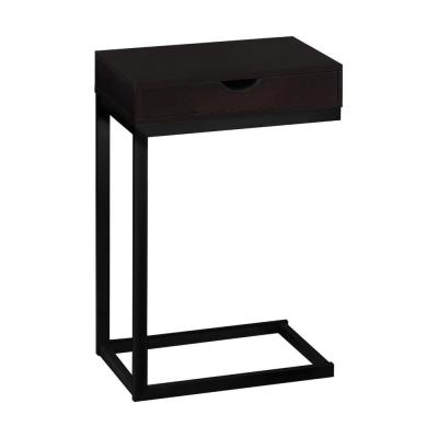 Jasmine 24.5 in. Cappuccino and Black Wood End Table