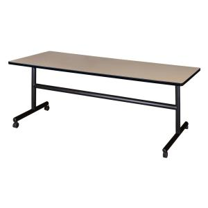 Kobe Beige 72 in. W x 30 in. D Flip Top Mobile Training Table